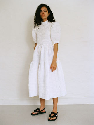 CECILIE BAHNSEN Plain Cotton Party Style Elegant Style Puff Sleeves Bridal