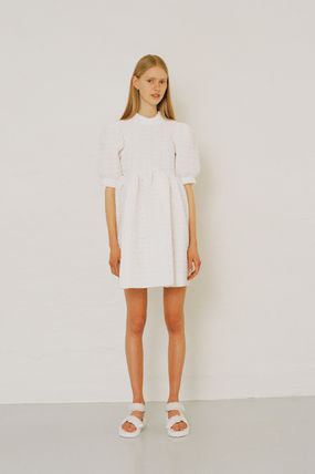 CECILIE BAHNSEN Short Plain Cotton Party Style Elegant Style Puff Sleeves