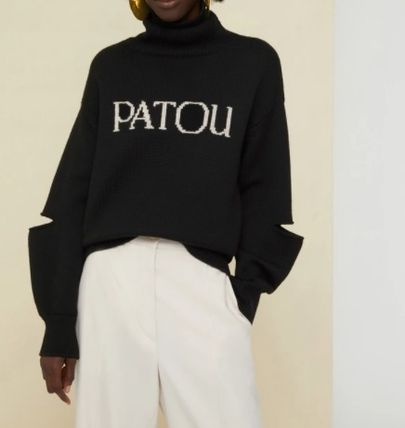 Casual Style Wool Long Sleeves High-Neck Logo