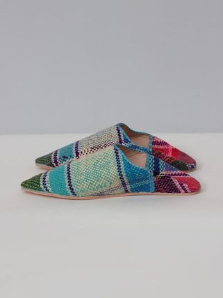 Stripes Casual Style Handmade Slippers Logo Shoes