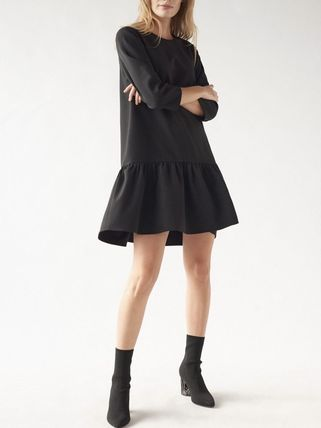Long Sleeves Plain Cotton Shirt Dresses Dresses