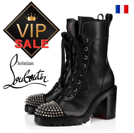 Platform Plain Toe Casual Style Studded Street Style Leather