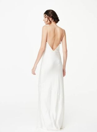 CAMI NYC Maxi Silk Sleeveless V-Neck Plain Long Lace Bridal