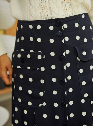 Flared Skirts Dots Casual Style Long Elegant Style