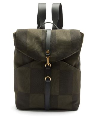 Other Plaid Patterns Canvas Leather Backpacks