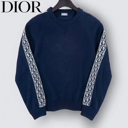 Christian Dior Sweaters Crew Neck Long Sleeves Cotton Logos on the Sleeves Logo