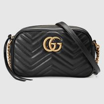GUCCI GG Marmont Casual Style Blended Fabrics Plain Leather Party Style