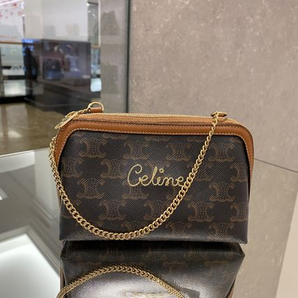 CELINE Triomphe Canvas Clutch With Chain In Triomphe Canvas With Embroidered Celine
