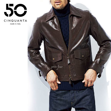 Short Blended Fabrics Plain Leather Biker Jackets