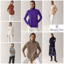 Massimo Dutti Casual Style Wool Cashmere Long Sleeves Plain Medium