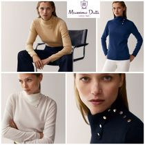 Massimo Dutti Casual Style Wool Silk Long Sleeves Plain Medium Party Style