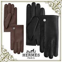 HERMES Plain Leather Logo Leather & Faux Leather Gloves