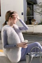 Short Casual Style Faux Fur Plain Fur Vests Office Style