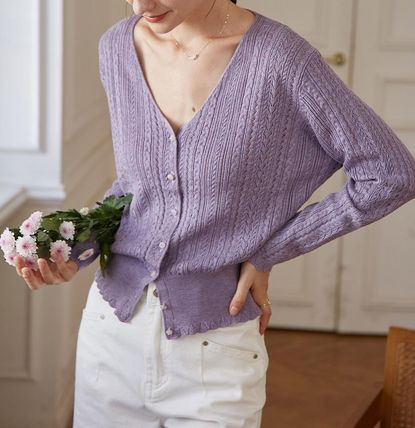 Casual Style Long Sleeves Plain Office Style Elegant Style