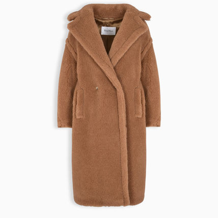 MaxMara TEDDY BEAR Fur Plain Long Oversized Wrap Coats