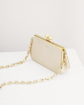 Pedro Calfskin Chain Plain Party Style Elegant Style Crossbody
