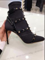 VALENTINO Plain Toe Studded Plain Leather Pin Heels Party Style