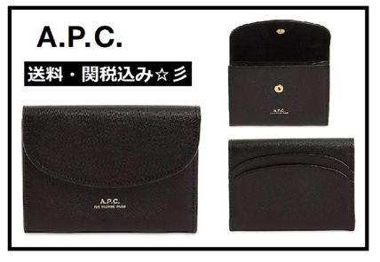 Small Wallet Logo Plain Leather Card Holders
