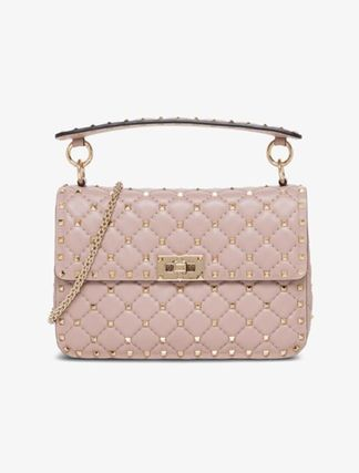 VALENTINO Crossbody Blended Fabrics Studded 2WAY Chain Plain Leather