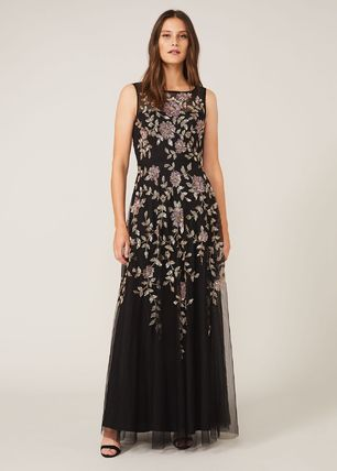 Flower Patterns Maxi A-line Sleeveless Long With Jewels