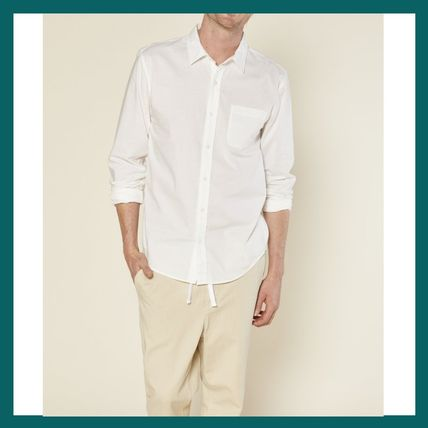 Button-down Unisex Street Style Long Sleeves Plain Cotton