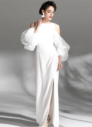 Maxi Plain Long Puff Sleeves Bridal Wedding Dresses