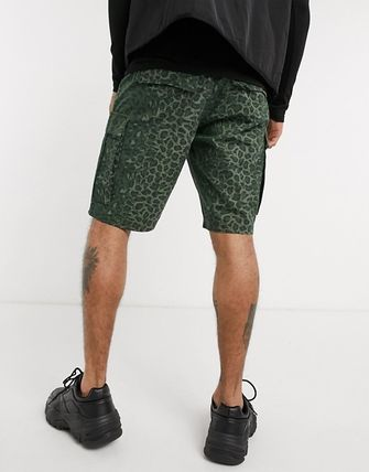 Camouflage Leopard Patterns Cotton Cargo Shorts