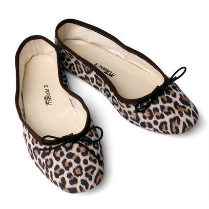 PORSELLI Leopard Patterns Suede Leather Handmade Ballet Shoes
