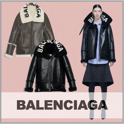 BALENCIAGA Casual Style Street Style Leather Oversized Logo