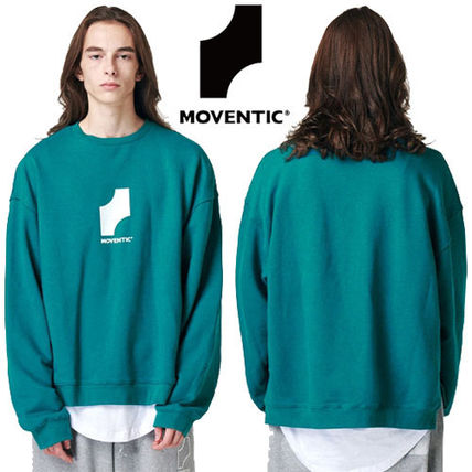 MOVENTIC Sweaters Unisex Studded Street Style U-Neck Long Sleeves Plain Cotton