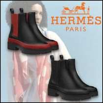 HERMES Platform Plain Toe Lace-up Casual Style Street Style