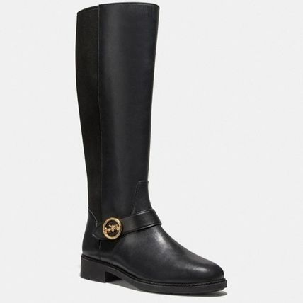 Coach Rubber Sole Casual Style Plain Leather Logo Mid Heel Boots