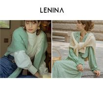 LENINA Cable Knit Casual Style Wool Nylon Long Sleeves Plain Angola
