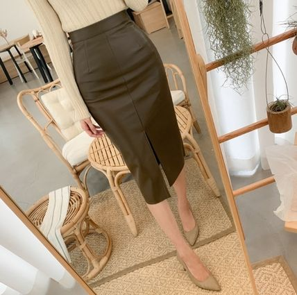Pencil Skirts Casual Style Faux Fur Plain Medium