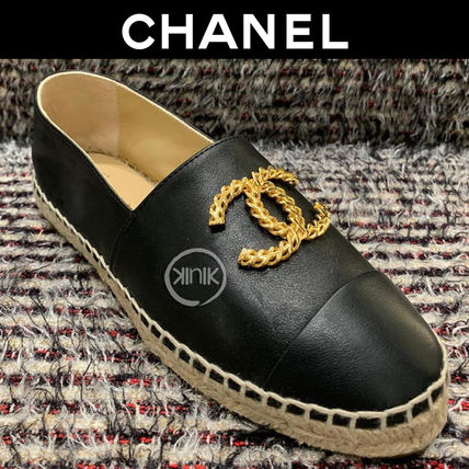 CHANEL Round Toe Casual Style Unisex Plain Leather With Jewels Logo