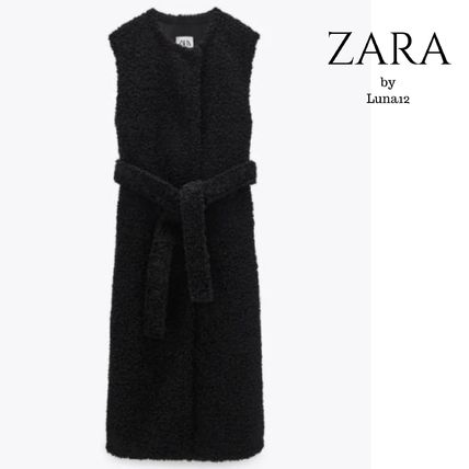 ZARA Casual Style Plain Long Elegant Style Shearling Vests