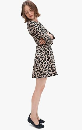 Crew Neck Short Leopard Patterns A-line Flared Long Sleeves