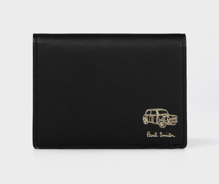 Street Style Plain Leather Folding Wallet Logo Coin Cases