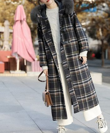 Other Plaid Patterns Tartan Casual Style Faux Fur Long