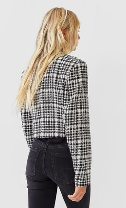 Short Other Plaid Patterns Casual Style Tweed Party Style