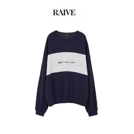Crew Neck Street Style Long Sleeves Cotton Logo