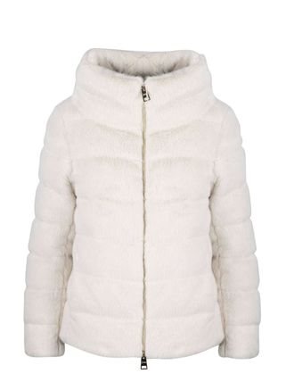 Short Plain Eco Fur Down Jackets