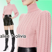 Alice+Olivia Cable Knit Casual Style Wool Street Style Long Sleeves Plain