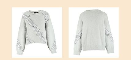 Crew Neck Short Casual Style Blended Fabrics Long Sleeves
