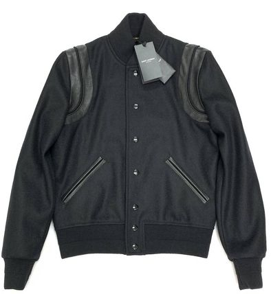 Saint Laurent Short Wool Street Style Plain Leather Varsity Jackets