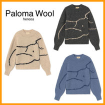 Paloma Wool Crew Neck Casual Style Long Sleeves Plain V-neck & Crew neck