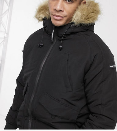 Short Unisex Street Style Plain Windbreaker Eco Fur Parkas