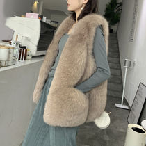 Casual Style Faux Fur Plain Medium Vest Jackets