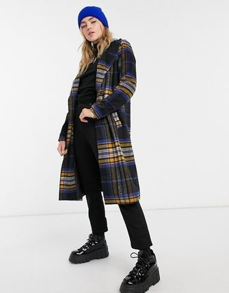 Other Plaid Patterns Casual Style Long Chester Coats