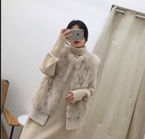 Short Casual Style Faux Fur Blended Fabrics Plain Fur Vests